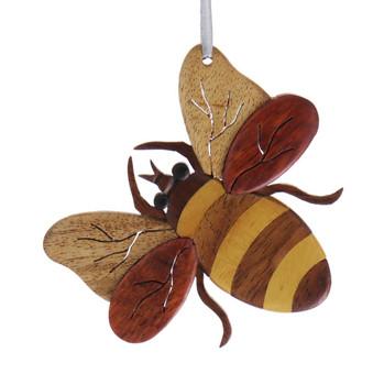 Bee Intarsia Wood Ornament