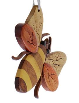Bee Intarsia Wood Ornament side
