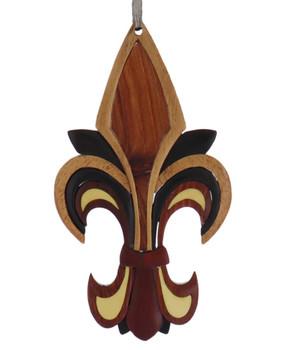 Fleur De Lis Intarsia Wood Ornament