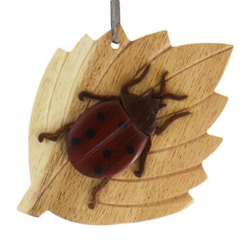 Ladybug Intarsia Wood Ornament