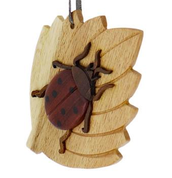 Ladybug Intarsia Wood Ornament side