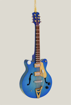 "Mini Electric Guitar Ornament - Wood, 5 5/8"" - Blue w/whammy #BG7890"