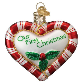Our First Christmas Heart Glass Ornament