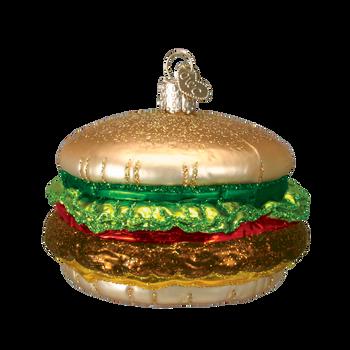 Hamburger Glass Ornament Cheeseburger