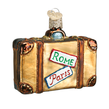 Traveler Suitcase Glass Ornament back