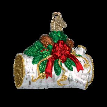 Yule Log Glass Ornament