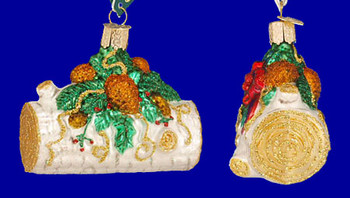 Yule Log Old World Christmas Glass Ornament 36067 inset