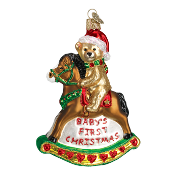 Baby's 1st Christmas Rocking Horse Glass Ornament