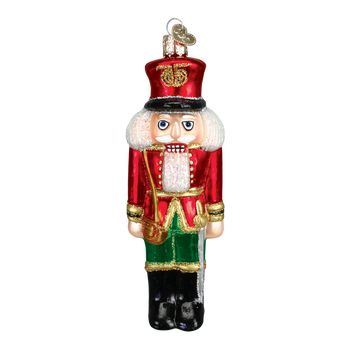 Nutcracker Soldier Glass Ornament red jacket front