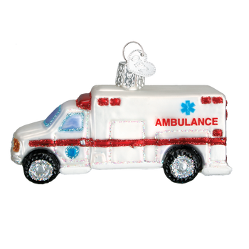 Ambulance Glass Ornament