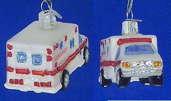 Ambulance Old World Christmas Glass Ornament 46022 inset