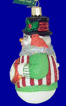 Snowman Our First Christmas Old World Christmas Glass Ornament 24120 inset