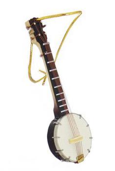Mini Banjo Ornament - Wood