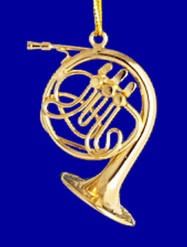 French Horn Ornament  Mini French Horn 1.5 Gold Brass Small