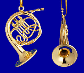 French Horn Ornament  Mini French Horn 1.5 Gold Brass Small inset