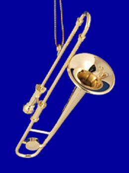 Trombone Ornament Mini Trombone 3.25 Gold Brass Small inset