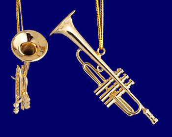 Trumpet Ornament Mini Trumpet 2.5 Gold Brass Small inset