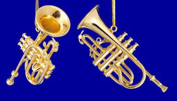 Cornet Ornament Mini Cornet 2.5 Gold Brass Small inset
