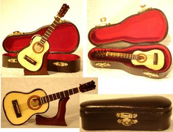 Mini Folk Guitar 3 pc Gift Set Wood Case Stand 4.75 Small