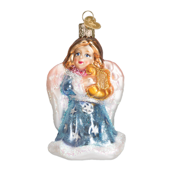 Angel w/ Lyre Glass Ornament Blue Front