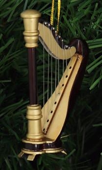 Mini Harp Ornament - Wood right side