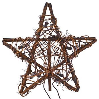 Grapevine Star Christmas Tree Topper, 10 Lights