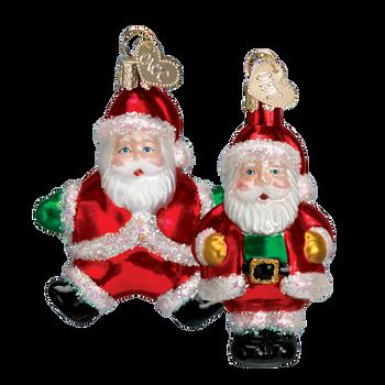 Miniature Santa Glass Ornament