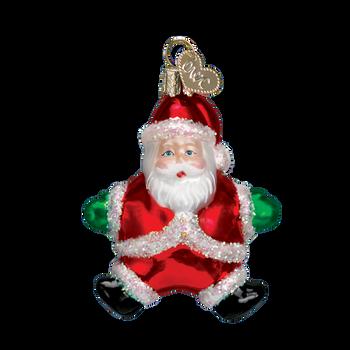 Miniature Santa Glass Ornament arms out