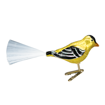 Western Goldfinch Glass Ornament Clip-On