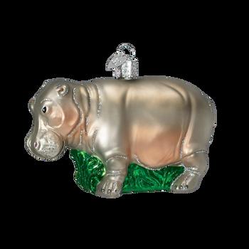 Hippo Glass Ornament
