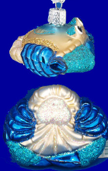 Blue Crab Old World Christmas Glass Ornament 12184 inset