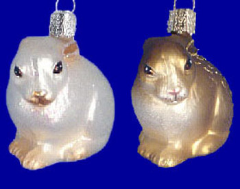 Cottontail Bunny Old World Christmas Glass Ornament 12192 inset