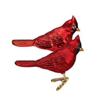 Northern Cardinal Clip On Glass Ornament