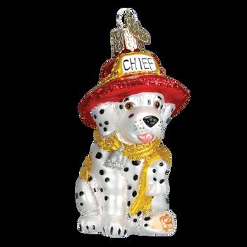 Dalmatian Puppy Fire Chief Glass Ornament