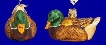 Mallard Duck Old World Christmas Glass Ornament 16017 inset