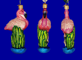 Flamingo Old World Christmas Glass Ornament 16023 inset