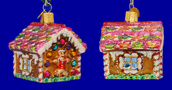 Gingerbread House Old World Christmas Glass Ornament 20013 inset