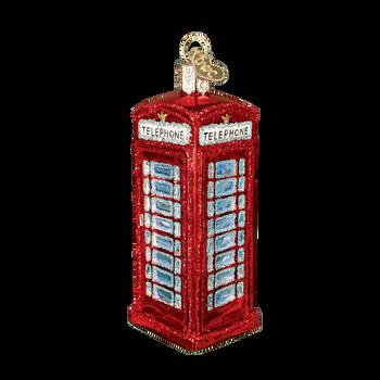English Phone Box Glass Ornament