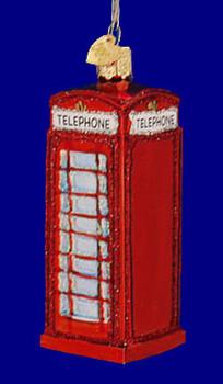 English Phone Box Old World Christmas Glass Ornament 20033 inset