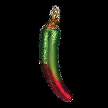 Chili Pepper Glass Ornament green red