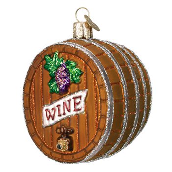 Vineyard Wine Barrel Glass Ornament