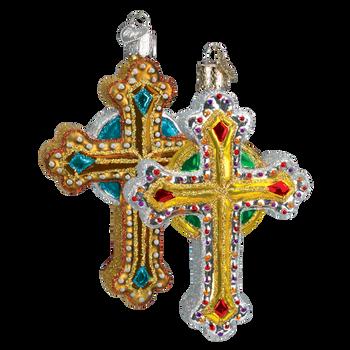 Jeweled Cross Glass Ornament