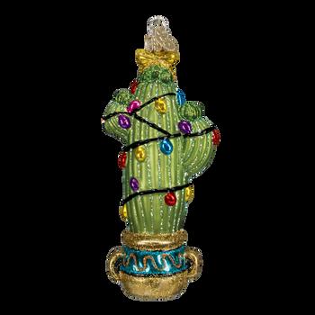 Christmas Cactus Glass Ornament