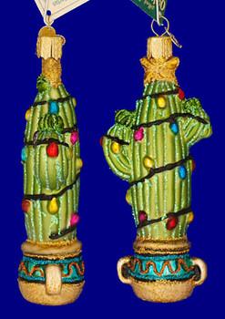 Christmas Cactus Old World Christmas Glass Ornament 36074 inset