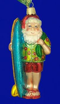 Santa Surfer Old World Christmas Glass Ornament 40060