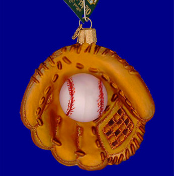 Baseball Mitt Old World Christmas Glass Ornament 44027