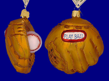 Baseball Mitt Old World Christmas Glass Ornament 44027 inset
