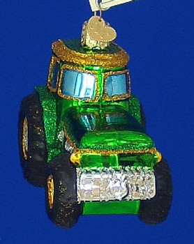 Green Tractor Old World Christmas Glass Ornament 46006 inset