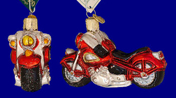Motorcycle Old World Christmas Glass Ornament 46008 inset