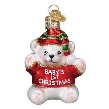 Baby's First Christmas Glass Ornament, Red
